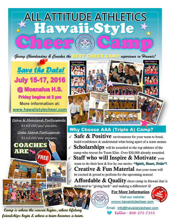996ef10dc0 All Attitude Athletics Hawaii-Style Cheer Camp - Hawaii High School Athletic  Association (HHSAA)